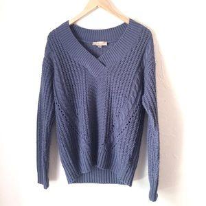 PHILOSOPHY dusty blue Vneck chunky sweater Size M